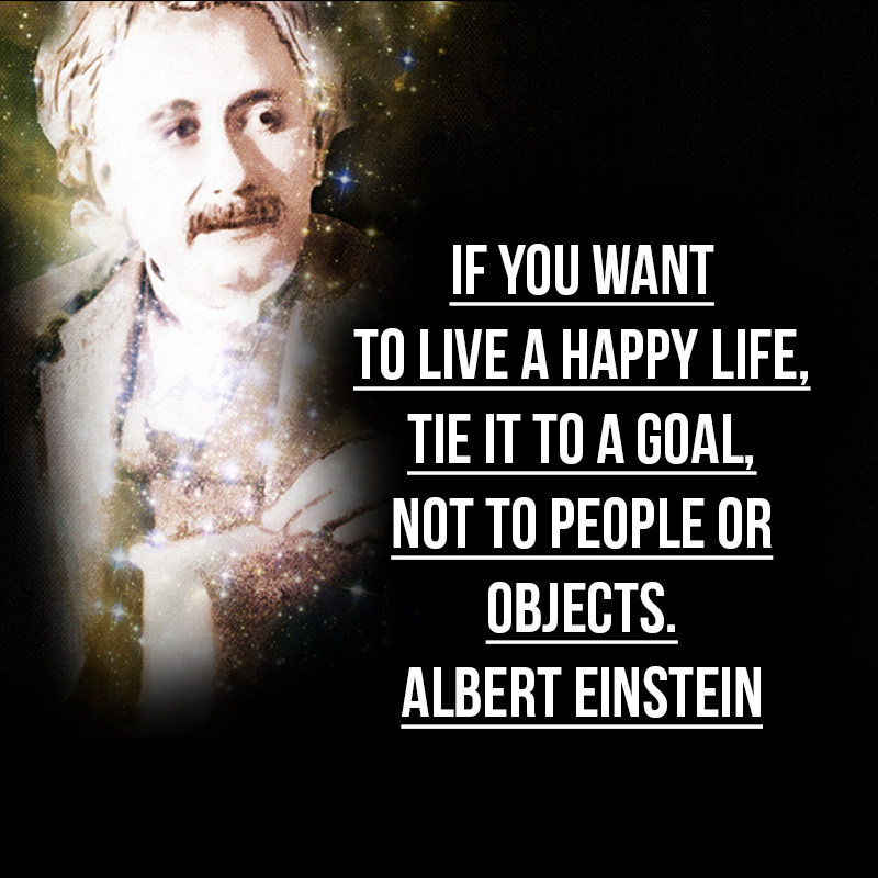 """If you want to live a happy life, tie it to a goal, not to people or objects."" - Albert Einstein"