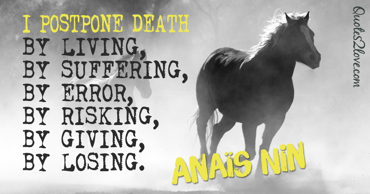 I postpone death by living, by suffering, by error, by risking, by giving, by losing. – Anaïs Nin