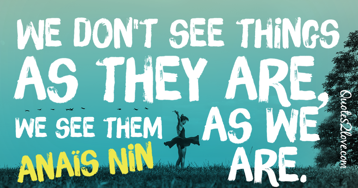 We don't see things as they are, we see them as we are. – Anaïs Nin