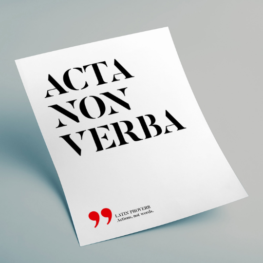 Acta, non verba - Actions, not words